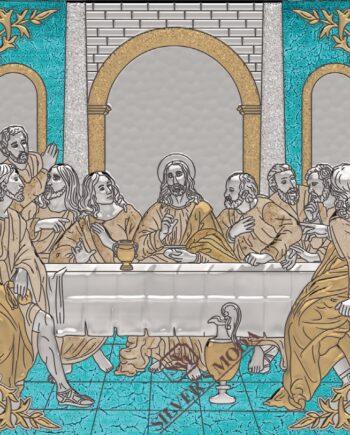 Μυστικός Δείπνος ασημί και χρυσαφί-Last Supper silver and gold icon