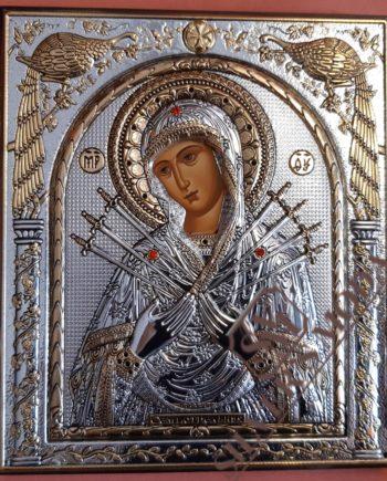 Επτά σπαθιά ασημένια εικόνα - holy icon Panagia 7 swords