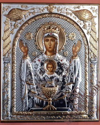 Ζωοδόχος Πηγή ασημένια εικόνα - holy icon life-giving source