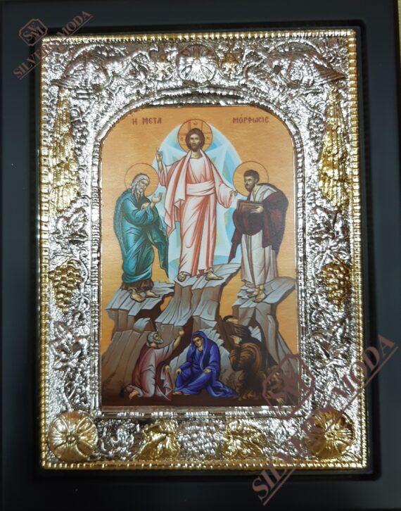Μεταμόρφωση του Σωτήρος εικόνα με ασήμι-Metamorfosh tou Sothros silver icon
