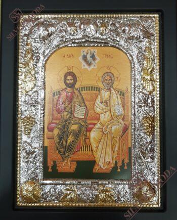 Αγία Τριάδα εικόνα με ασήμι-agia triada silver icon
