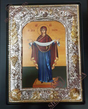 Αγία Σκέπη εικόνα με ασήμι-agia skeph silver icon