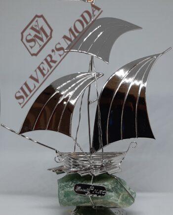 καράβι πανιά πράσινο quartz -silver ship green quartz